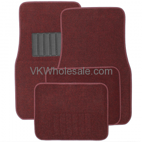 4-Piece Carpet Floor Mats - Red Car Mats