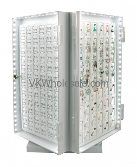 "Jewelry Counter 16"" Display, 4 Side LED Turntabl"