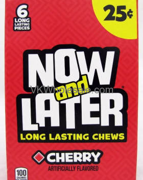 Now & Later Candy Cherry 24/6 PCS Bars Wholesale