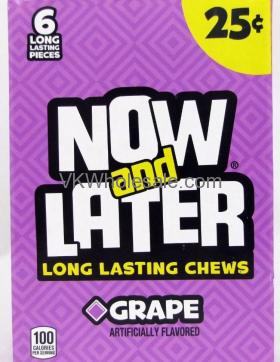 Now & Later Candy Grape 24/6 PCS Bars Wholesale
