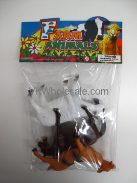 "7"" 3PC TOY FARM ANIMAL SET IN POLY BAG W/HEADER"