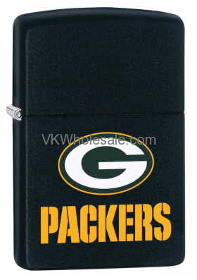 Zippo Classic NFL Green Bay Packers Black Matte Z744 Lighter Wholesale