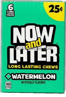 Now & Later Candy Watermelon 24/6 PCS Bars Wholesale