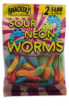 Snackerz Neon Worms 2 for $1 Candy Wholesale